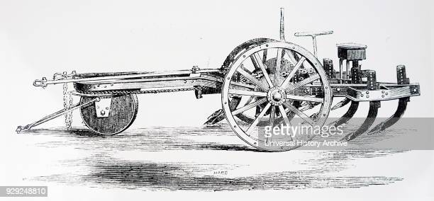 Engraving depicting a moveable anchor vehicle for use at one end of a field to act as a pulley block for rope to which a plough is attached in steam...