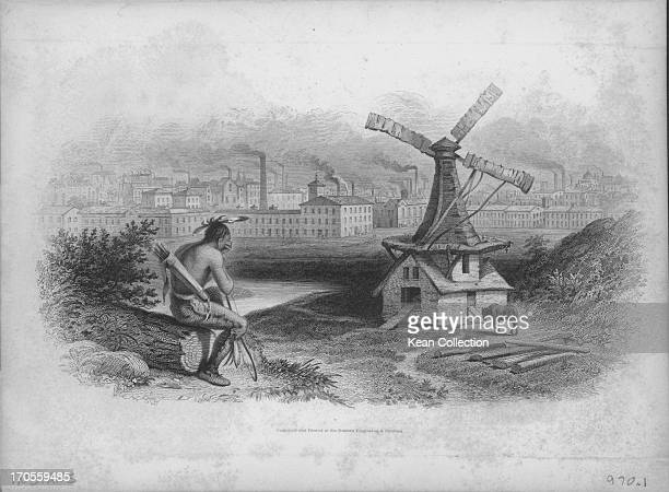 Engraving depicting a Native American devastated as he views the industrial landscape where the Great Plains once were where buffalo and Indians...