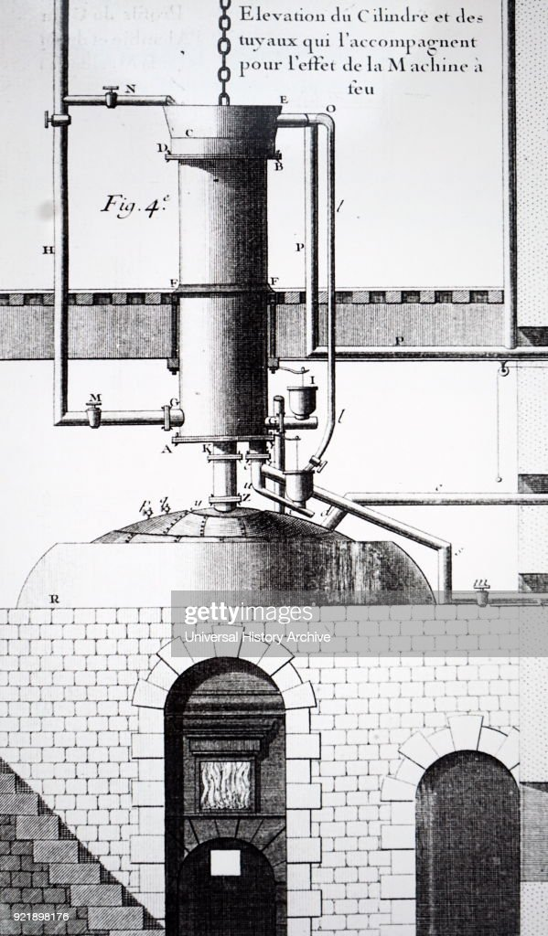 Engraving depicting a Newcomen steam engine. Thomas Newcomen (1664-1729) an English inventor who created the first practical steam engine in 1712, the Newcomen atmospheric engine. Dated 18th century.