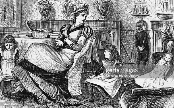 Engraving depicting a nursemaid who has disciplined a child by making them face the corner whilst the other children continue to play Dated 19th...