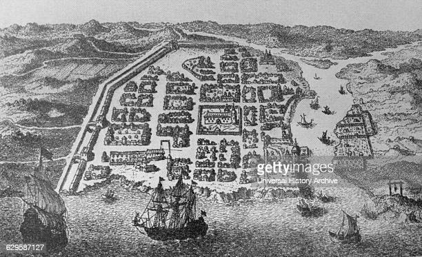 Engraving depicting a Panorama old city of Santo Domingo Dominican Republic Dated 15th Century
