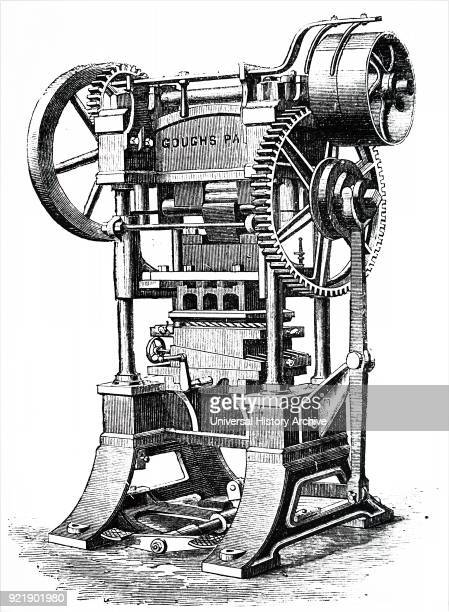 Engraving depicting a patent rotary 'arming' press for producing devices on book covers and spines for bookbinders Dated 19th century