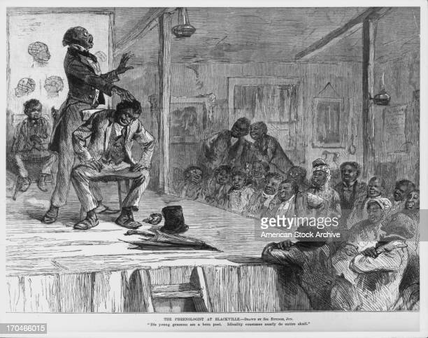 Engraving depicting a phrenologist on stage at Blackville examining the head of a caricature negro man to assess character 1884 Drawn by Solomon...
