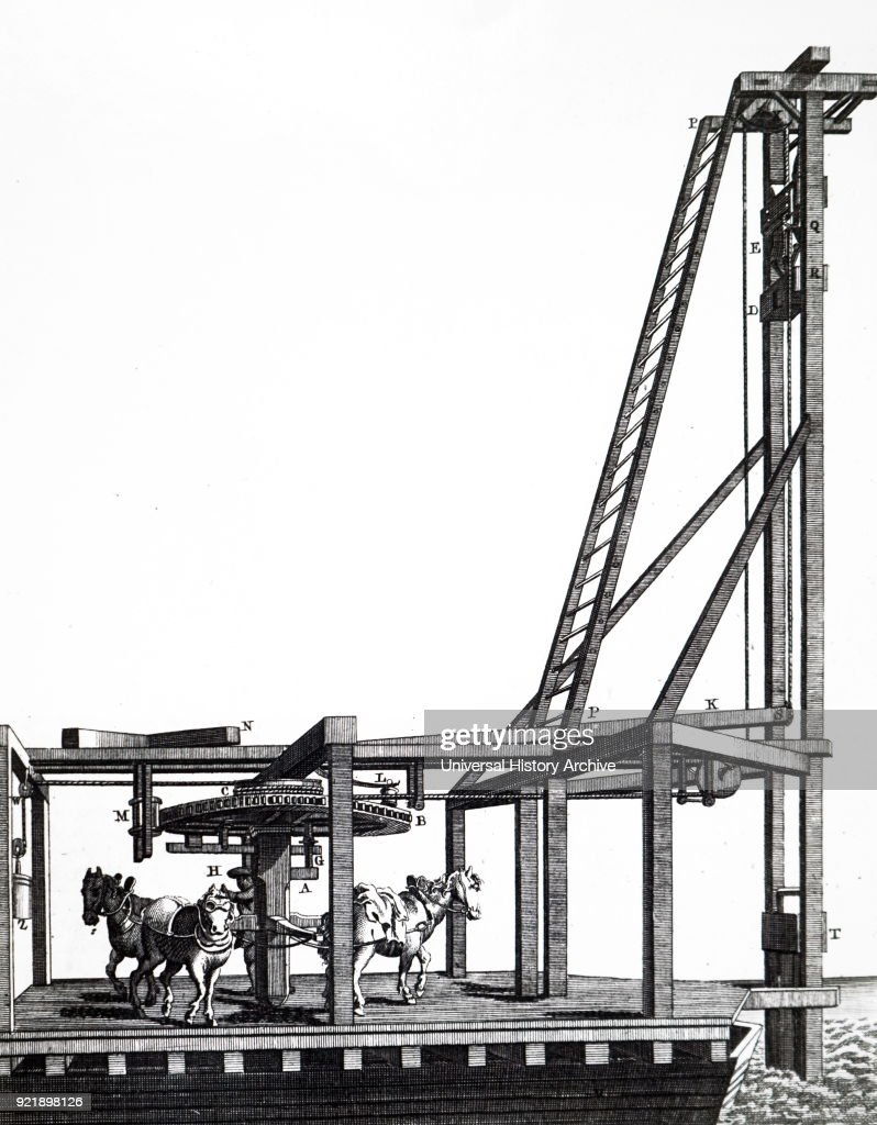 Engraving depicting a pile driver, used during the construction of Westminster Bridge. Dated 18th century.