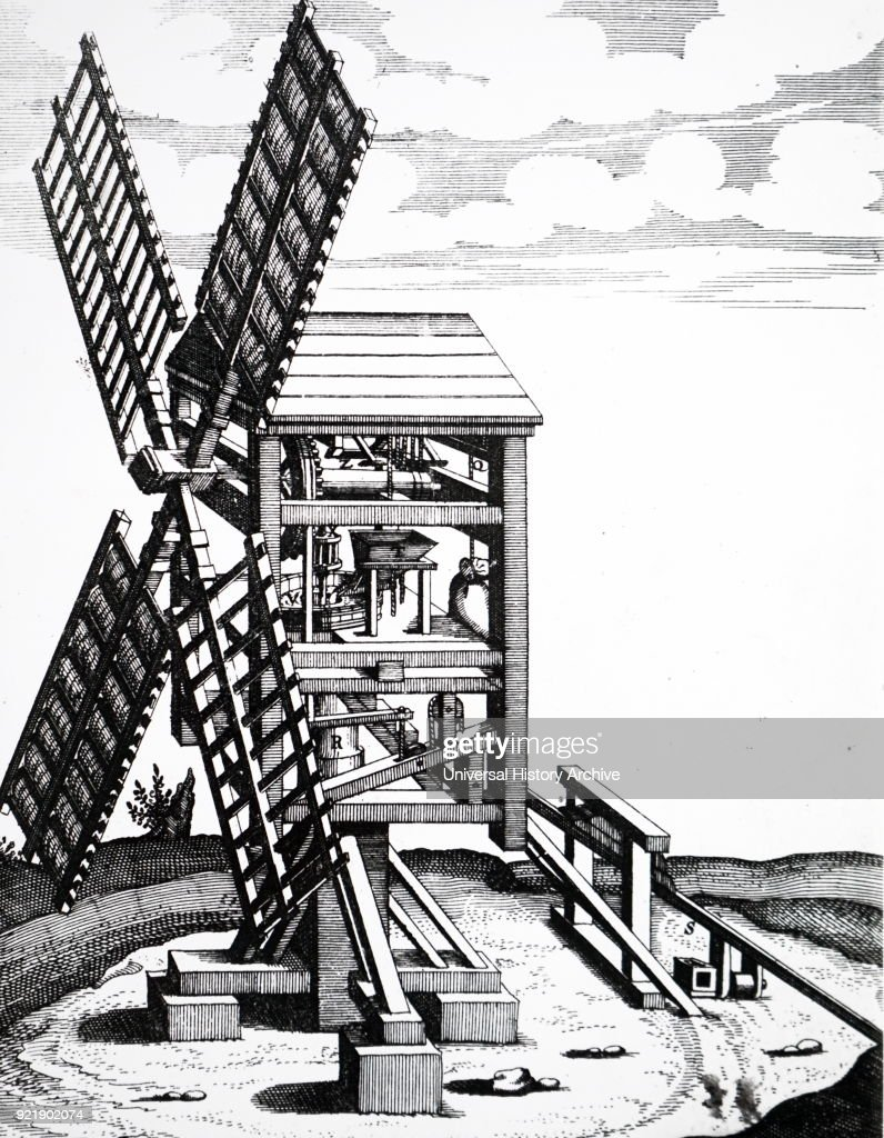 Engraving depicting a post-mill for grinding corn. Dated 17th century.