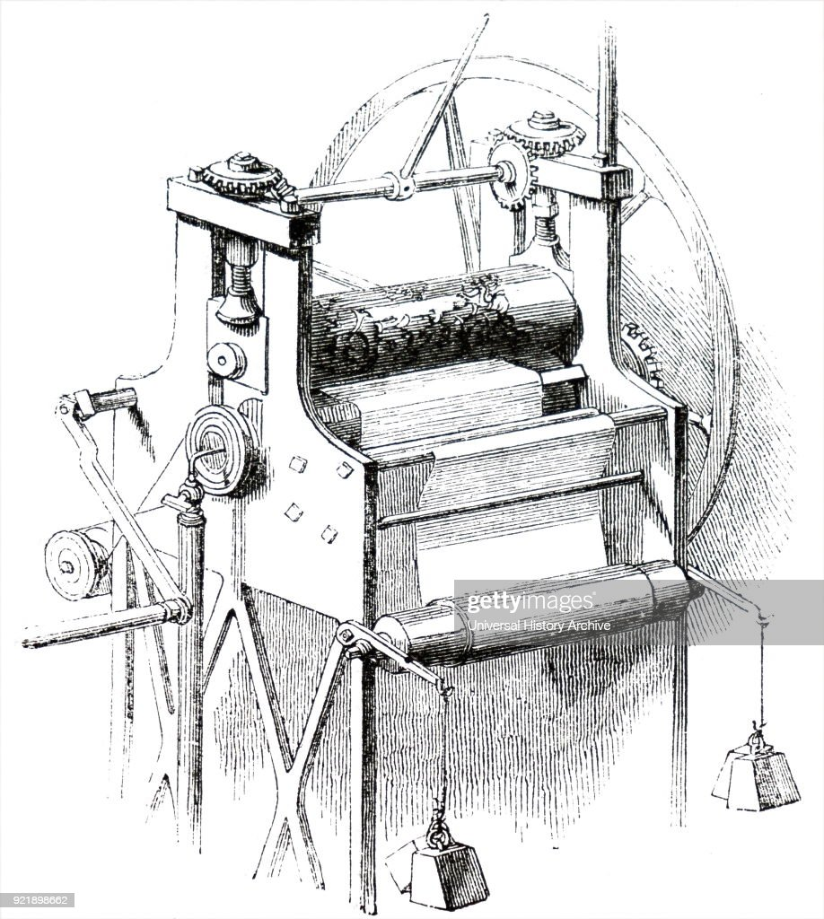 Engraving depicting a process in bookbinding: embossing press for decorating the cotton cloth used for bookbinding. The patterned cylinders could be changed according to the pattern required. Dated 19th century.
