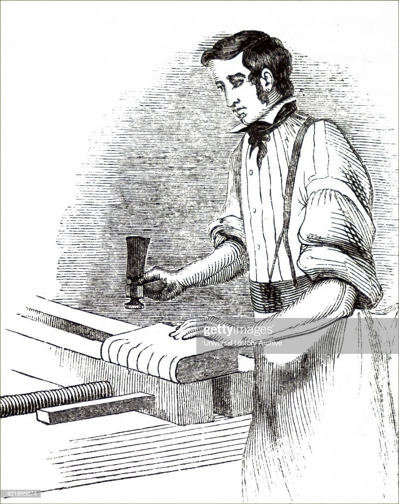Engraving depicting a process in bookbinding: rounding the back of sewn sections to produce swell to strengthen the spine and ensure proper opening of the bound volume. Dated 19th century.