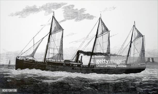 Engraving depicting a refrigerated ship showing men handling sides of meat Dated 19th century