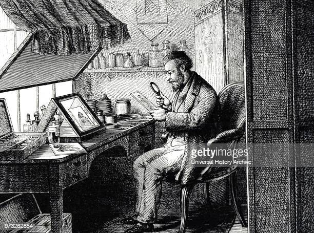 Engraving depicting a retoucher's studio Dated 19th century