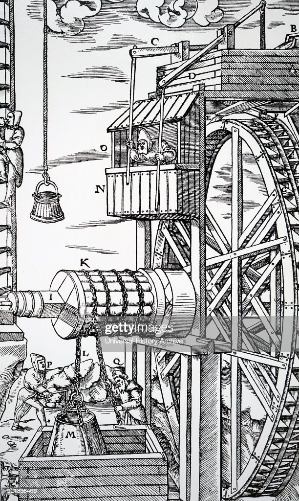 Engraving depicting a reversible hoist for raising leather buckets from mine shaft. Man in hut, O), opens and shuts water race by levers, C), D), to stop and start water wheel with double row of buckets facing opposite ways. Dated 16th century.