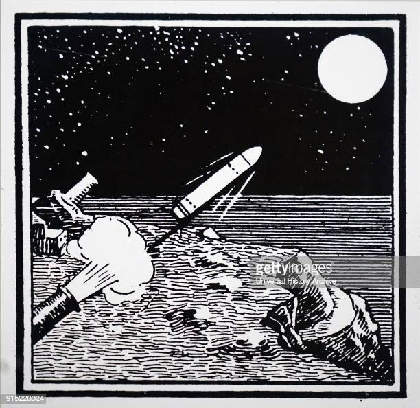 Engraving depicting a rocket being fired towards the moon in the background left is the telescope which would be used to observe its arrival on...