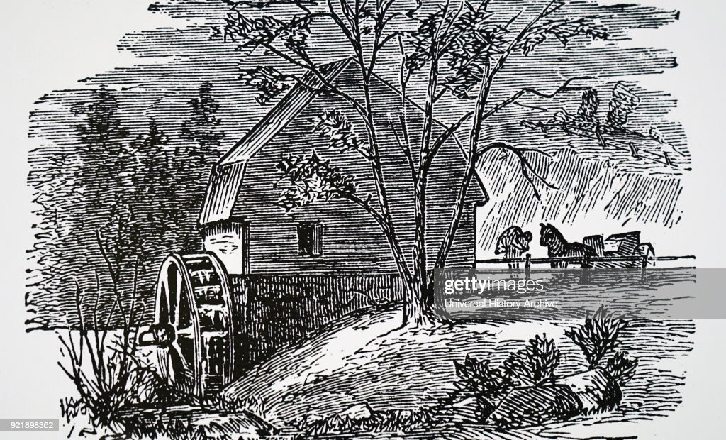 Engraving depicting a rural water-powered flour mill. Dated 19th century.