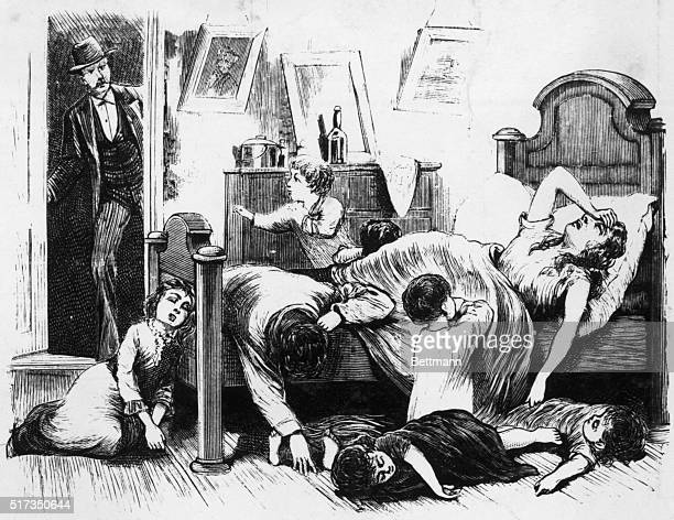Engraving depicting a sad scene in a Jefferson Street Dwelling in Memphis From a series of images entitled 'THE GREAT YELLOW FEVER SCOURGE INCIDENTS...