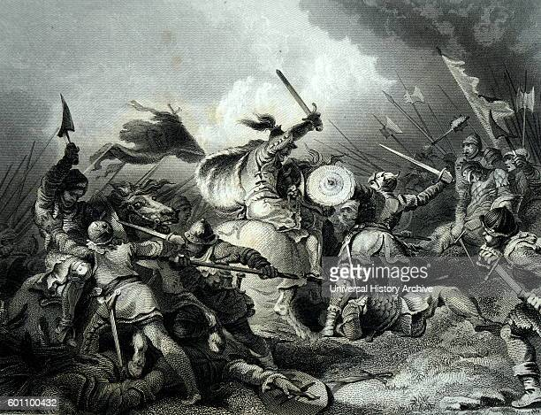 Engraving depicting a scene from the Battle of Hastings fought on 14th October 1066 between the NormanFrench army of Duke William II of Normandy and...