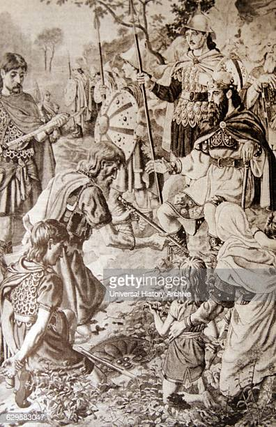 Engraving depicting a scene of the life of Alfred the Great Alfred successfully defended his kingdom against the Viking attempt at conquest and by...
