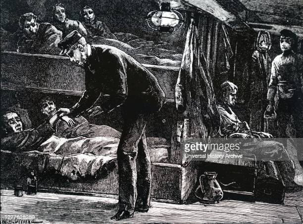 Engraving depicting a scene onboard an Irish emigrant ship bound for North America during the potato famine of the 1840s. The emigrants were so...