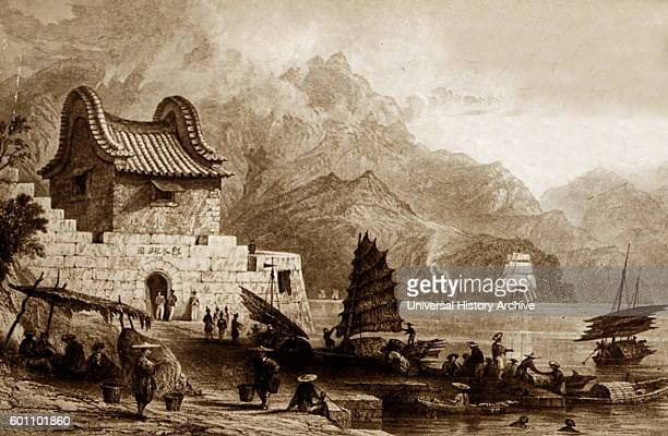 Engraving depicting a scene outside of Fort Victoria Kowloon Hong Kong Dated 19th Century