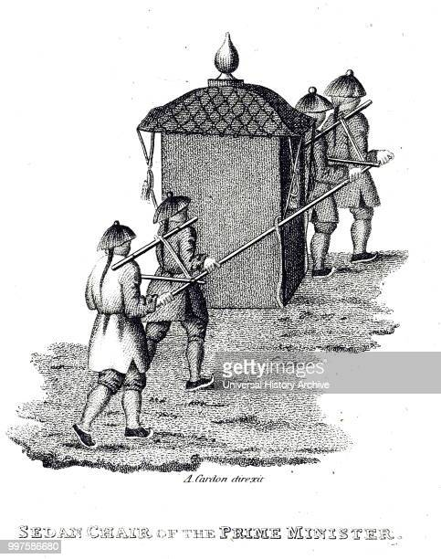 Engraving depicting a sedan chair Dated 19th century