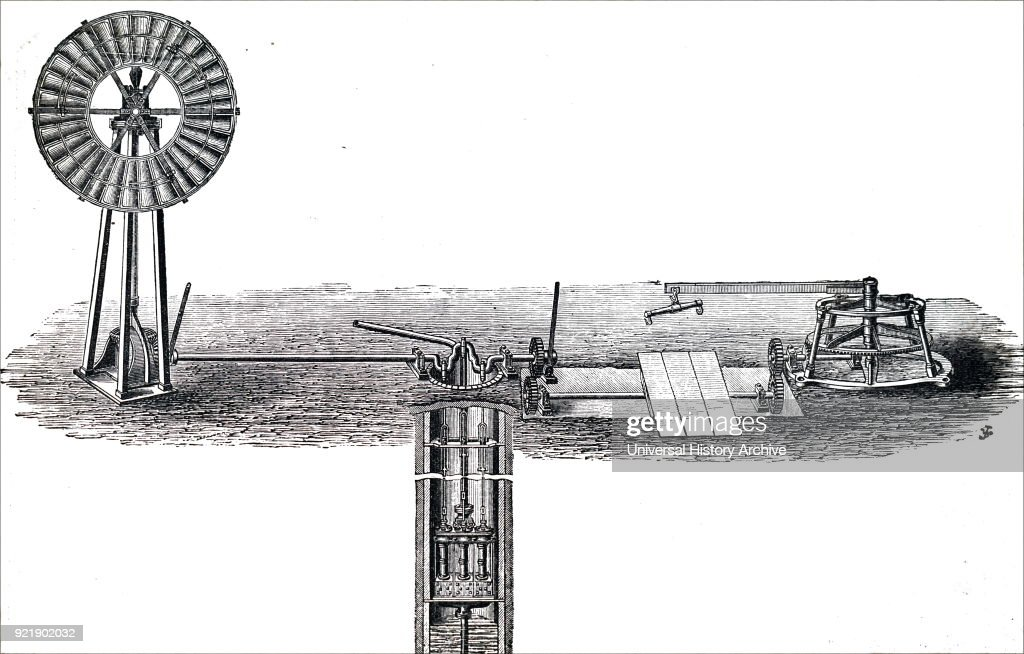 Engraving depicting a simple wind pump fitted to a well. Dated 19th century.