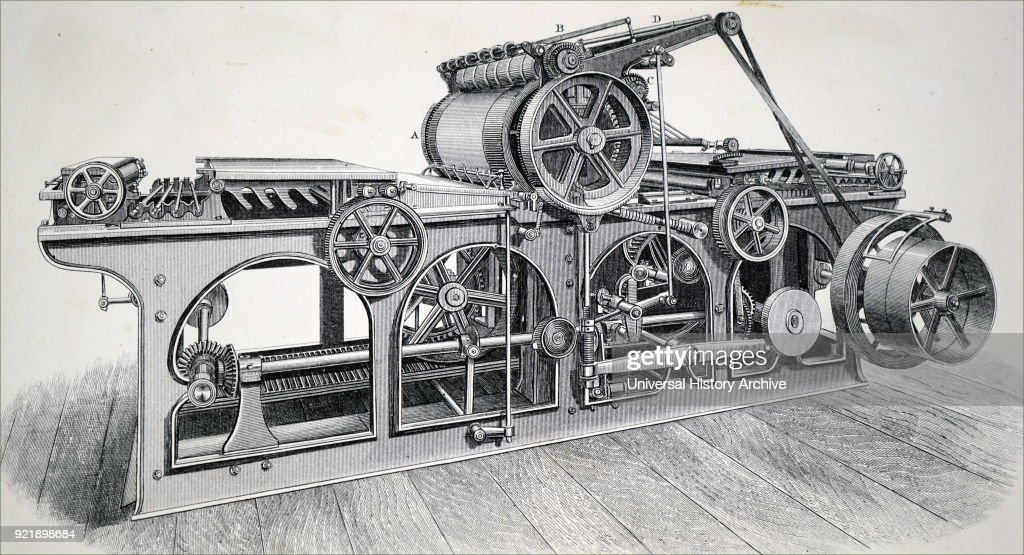 Engraving depicting a single cylinder perfecting machine. Dated 19th century.