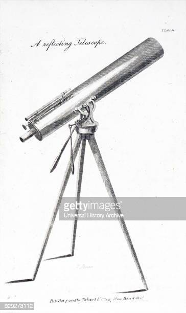 Engraving depicting a small reflecting telescope mounted on a tripod At the eyepiece end of the tube is the 'finder' a small telescope with a larger...