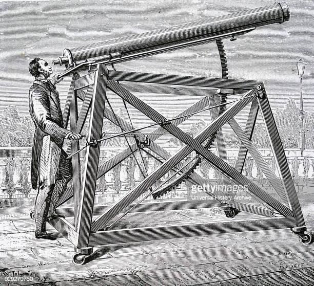 Engraving depicting a small refractor mounted on a wheeled frame To the right of the observer and mounted parallel to the main tube is the finder a...