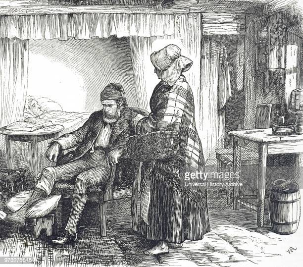 Engraving depicting a smallholder's cottage interior Dated 19th century