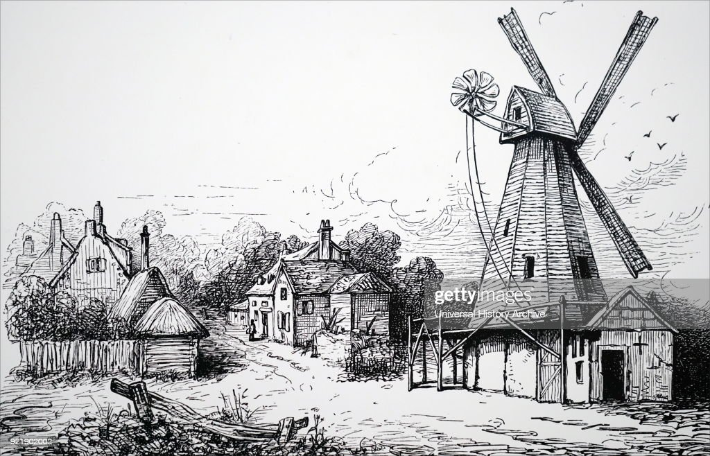 Engraving depicting a smock mill with fantail used for grinding corn. Dated 19th century.