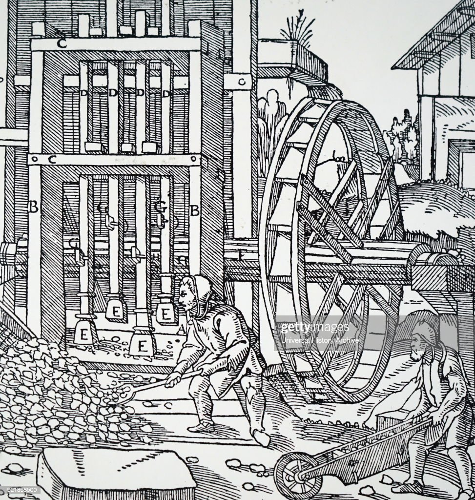 Engraving depicting a stamping mill powered by an undershot water wheel. Dated 16th century.