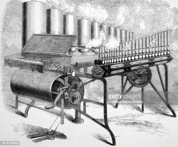 Engraving depicting a steam driven mechanical organ The engraving depicts how the pins on the revolving drum open and close the pipes Dated 19th...