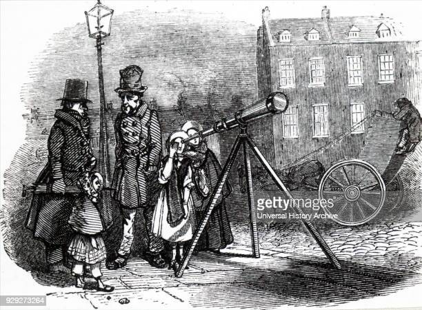 Engraving depicting a street telescope in London Dated 19th Century