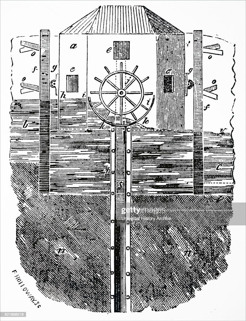 Engraving depicting a Tide Mill, powered by the rising and falling of the tide. Dated 19th century.