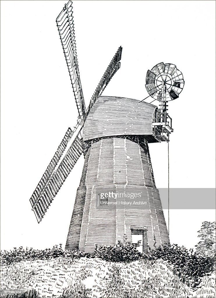 Engraving depicting a tower mill. Dated 19th century.