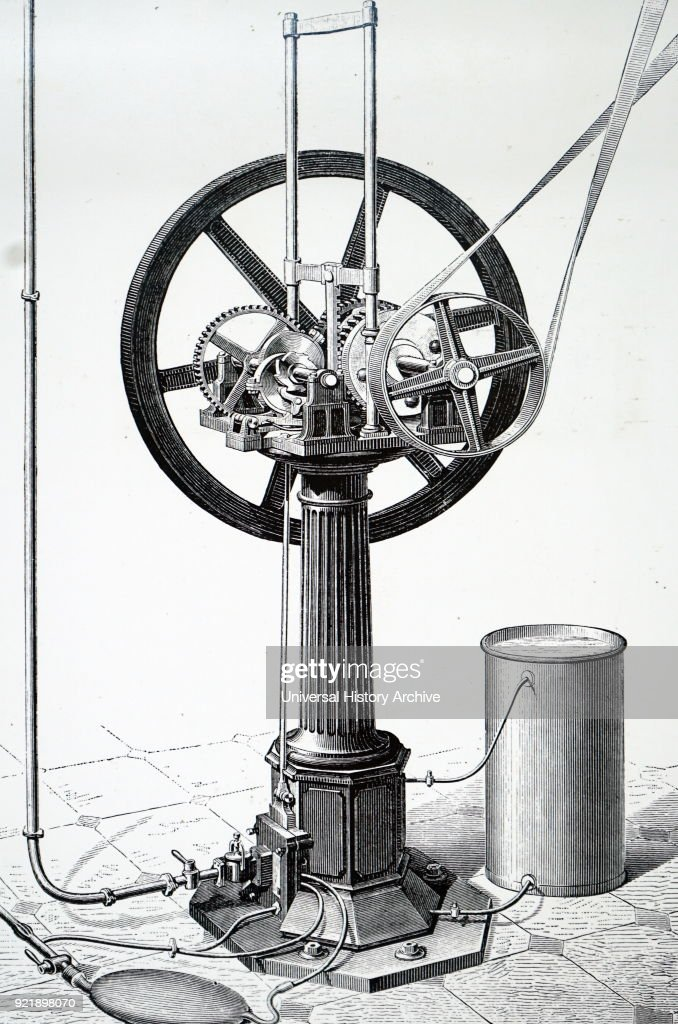 Engraving depicting a vertical OTTO engine manufactured by Crossley Bros. of Manchester. This engine worked on the OTTO (4-stroke) cycle, and used a mixture of 13 parts of air to 1 part of gas. Dated 19th century.