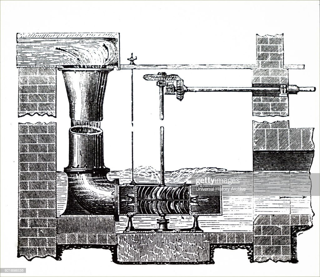 Engraving depicting a vertical section of Schiele's Turbine. Dated 19th century.