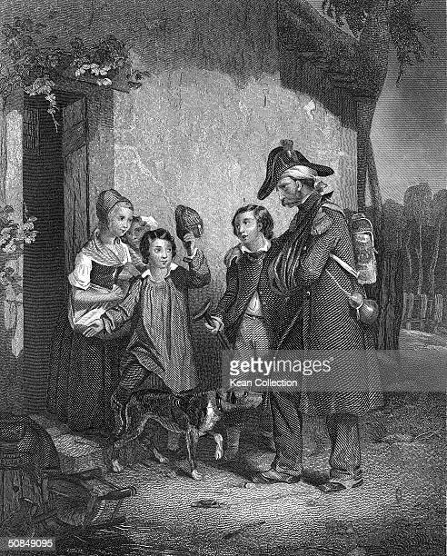 Engraving depicting a veteran of the Battle of Waterloo returning to his family 1815