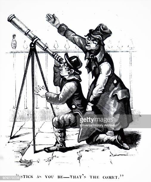 Engraving depicting a victim using a street telescope whilst a pickpocket steals from them in London Dated 19th Century