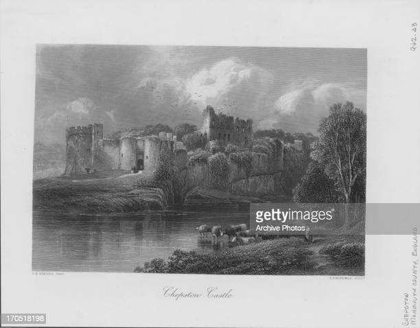 Engraving depicting a view of Chepstow Castle Monmouthshire UK