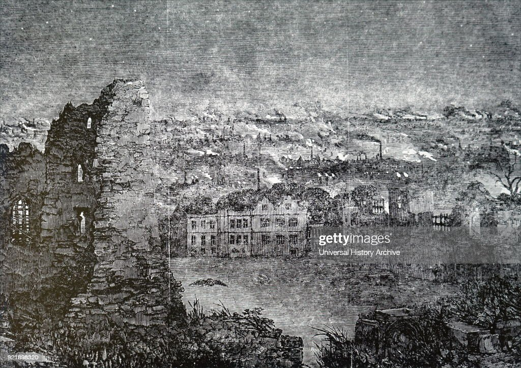 Engraving depicting a view of Dudley from the castle at night, showing the smoke from the chimneys of the ironworks. Dated 19th century.