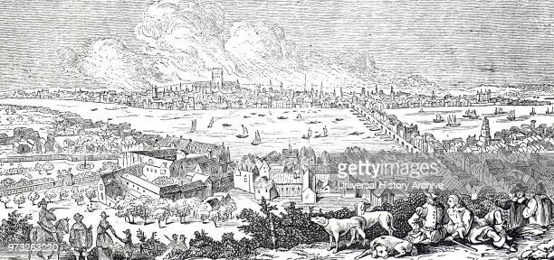 Engraving depicting a view of London during the Great Fire of 1666 Dated 17th century