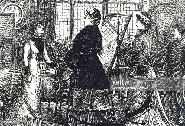 Engraving depicting a visitor to the dressmaker Dated 19th century