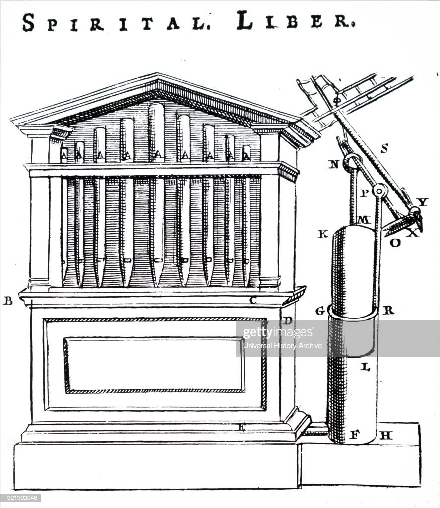 Engraving depicting a water driven mechanical organ. The engraving depicts how the pins on the revolving drum open and close the pipes. Dated 17th century.