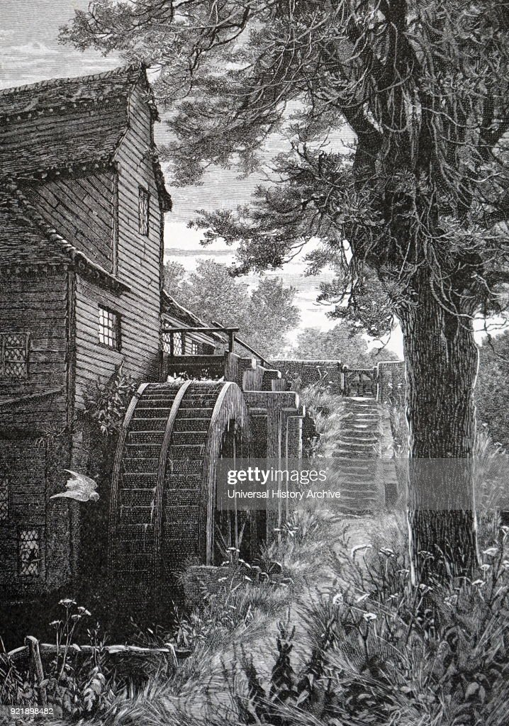 Engraving depicting a water mill at Milton Court, Surrey. Dated 19th century.