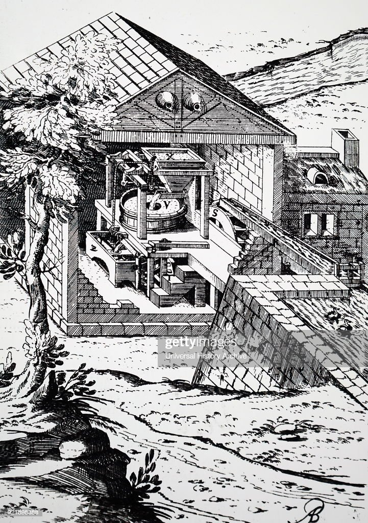Engraving depicting a water powered flour mill (overshot wheel). Dated 17th century.