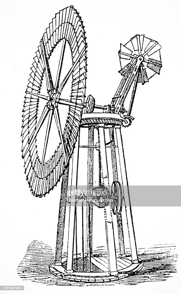Engraving depicting a wind pump with self-regulating annular sail. Used for raising water from wells. Dated 19th century.