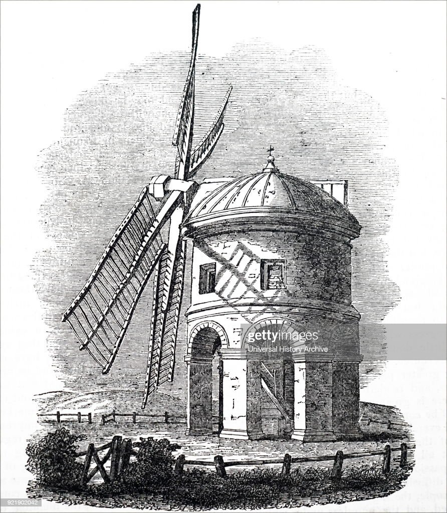 Engraving depicting a windmill at Chesterton, Warwickshire. Dated 19th Century.