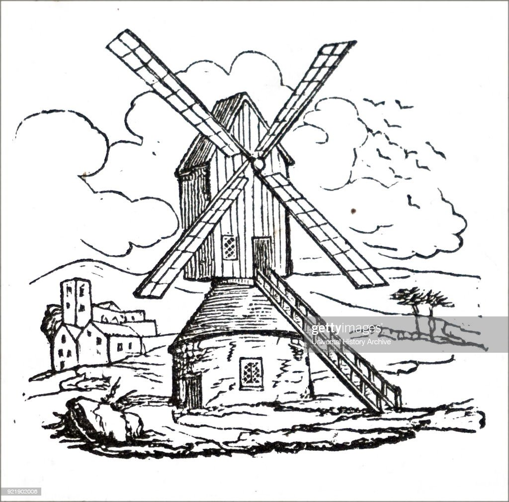 Engraving depicting a windmill at Cleveland, Ohio. Dated 18th century.