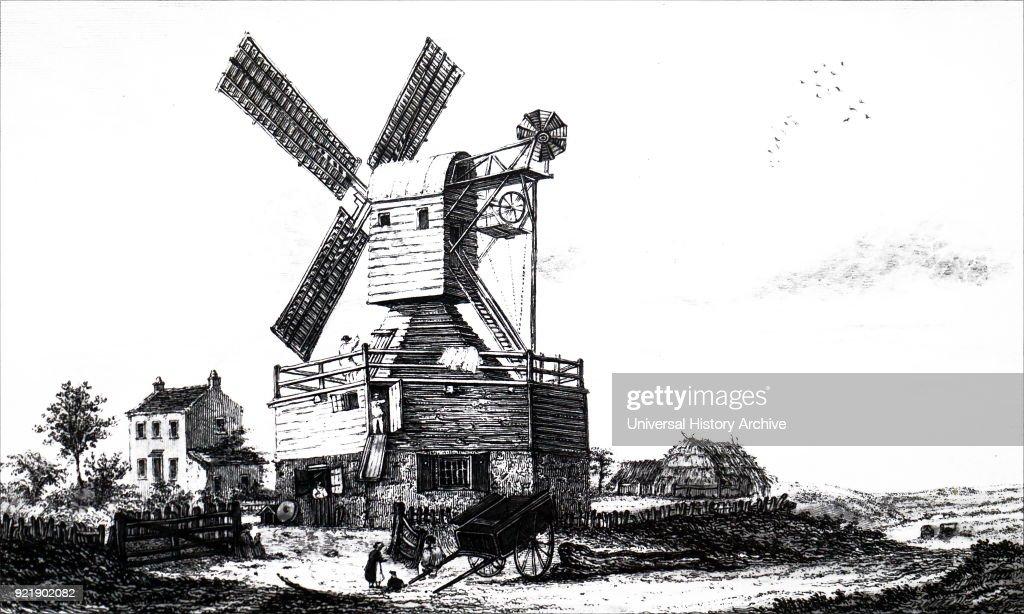 A windmill on Wimbledon Common. : News Photo