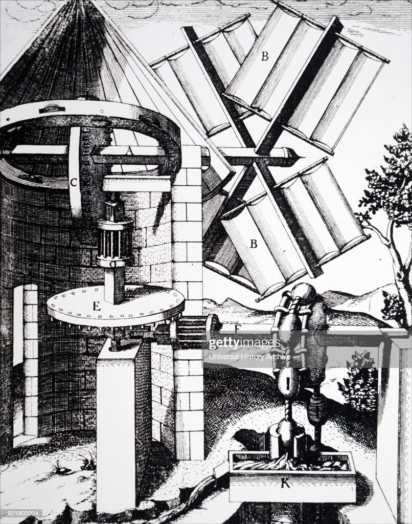 Engraving depicting a windmill operating a rag-and-chain draining pump. Dated 17th century.