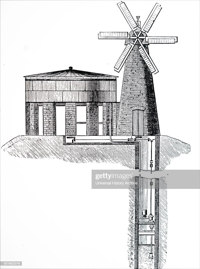 Engraving depicting a windmill used for raising water from well to storage tank. Dated 19th century.
